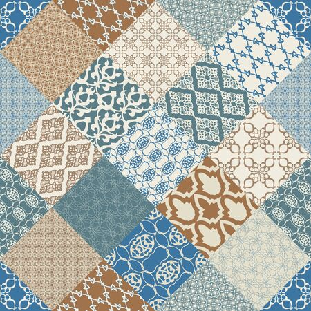 filigree: Seamless with oriental motif. Multicolor patchwork background. Set of pattern with filigree ornaments.