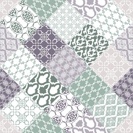 patchwork background: Seamless with oriental motif. Multicolor patchwork background. Set of pattern with filigree ornaments.  Illustration