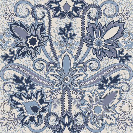 damask border: Seamless pattern with paisley.FLoral background.Traditional oriental filigree ornament.