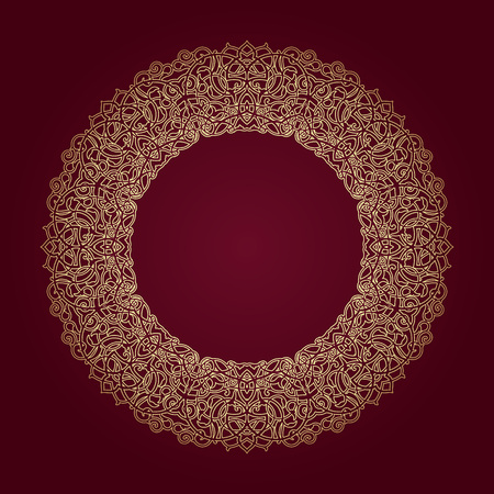 entwined: Decorative ornate round frame in Victorian style. Ornamental round border for wedding invitations and greeting cards.Vector illustration