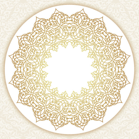 Decorative ornate round frame in Victorian style. Ornamental round border for wedding invitations and greeting cards.Vector illustration