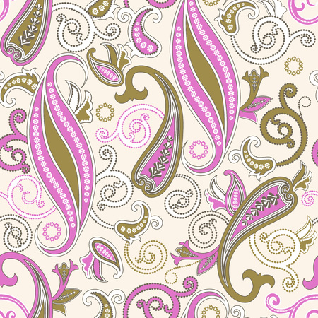 filigree: Seamless pattern with paisley.FLoral background.Traditional oriental filigree ornament.Vector illustration. Illustration