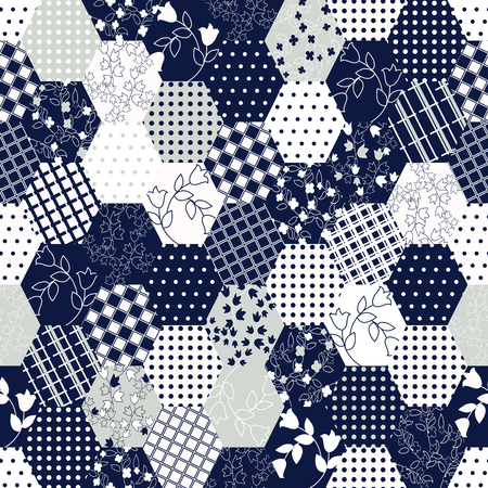シームレスなパッチワーク バック グラウンド。東洋の飾りのモチーフ。紺と白のオーナメント。ベクトル図