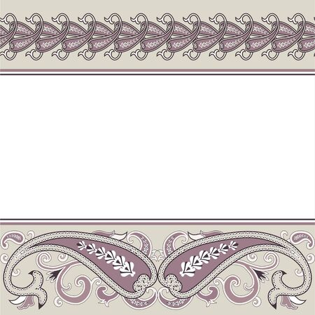 printable: Wedding invitation card with traditional ethnic flower paisley ornament. Invitation, Save the date, RSVP, Thank you card printable template.