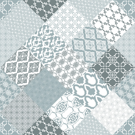 patchwork background: Seamless patchwork background. Oriental ornament motifs. Navy blue and white ornaments.Vector illustration