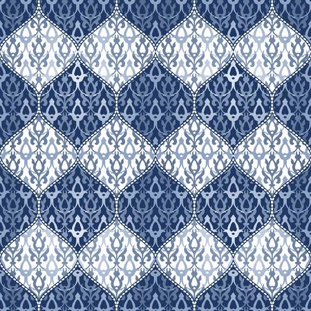 원활한 패치 워크 배경입니다. 동양 장식 모티프입니다. 해군 파란색과 흰색 장식. 스톡 콘텐츠 - 62141425