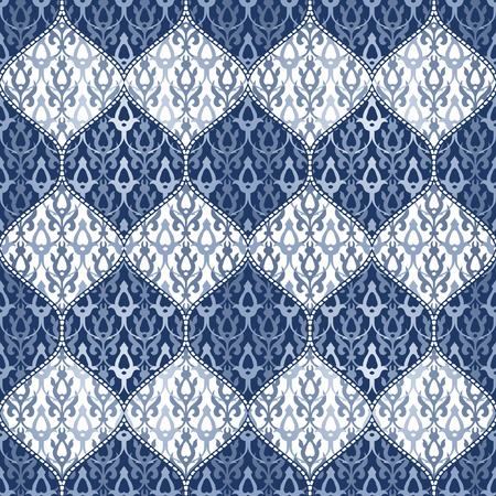 Seamless patchwork background. Oriental ornament motifs. Navy blue and white ornaments.