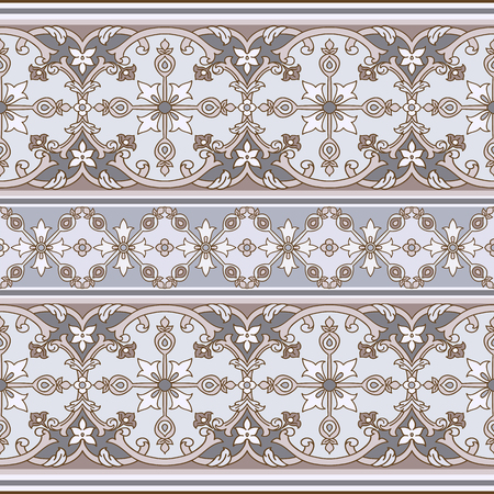 Seamless with oriental motif. Colorfull patchwork background. Pattern with filigree ornaments. Vector illustration.