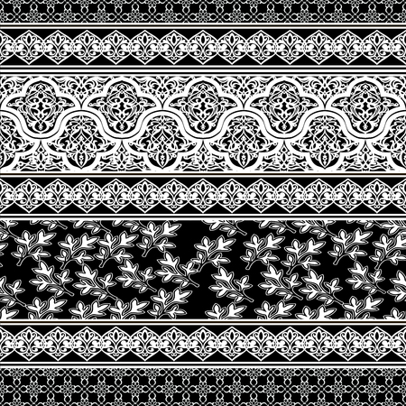 Seamless with oriental motif. Monochrome patchwork background. Set of pattern with filigree ornaments. Vector illustration. Çizim