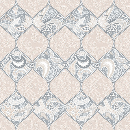 Seamless with oriental motif. Pink patchwork background. Set of pattern with filigree ornaments. Vector illustration. Çizim