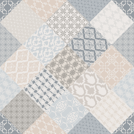 Bezszwowa z orientalnym motywem. Różowy patchworkowy tło. Zestaw wzoru z filigranowymi ornamentami. Ilustracja wektorowa.