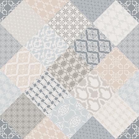 Sin costuras con motivos orientales. Fondo de mosaico rosa. Conjunto de patrón con adornos de filigrana. Ilustración vectorial.