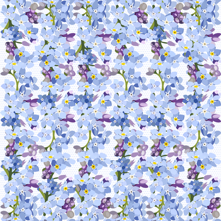 Seamless pattern colorful. Floral background. Forget me no flowers. Spring fresh abstract motifs. Vector illustration 일러스트
