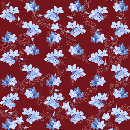 Seamless pattern colorful. Floral background. Forget me no flowers. Spring fresh abstract motifs. Vector illustration Çizim
