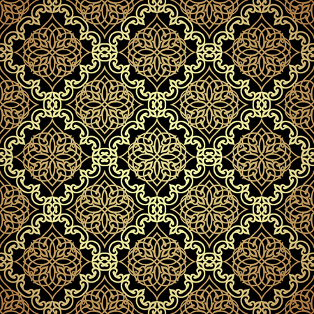 Black and gold damask background. Luxury style pattern with filigree ornaments. Royal motifs. Vector