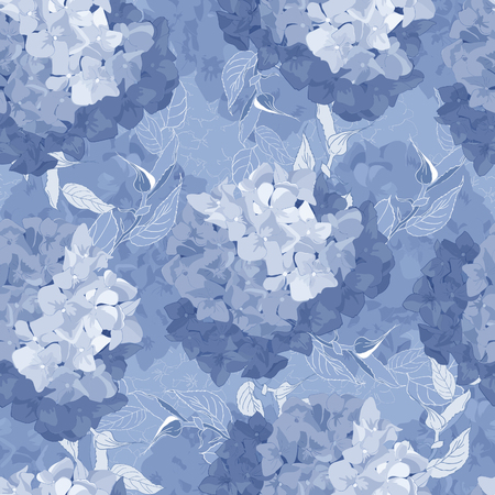 Seamless pattern with Hydrangea Flowers and leaves. watercolor style floral background. Spring fresh texture.Vector illustration.