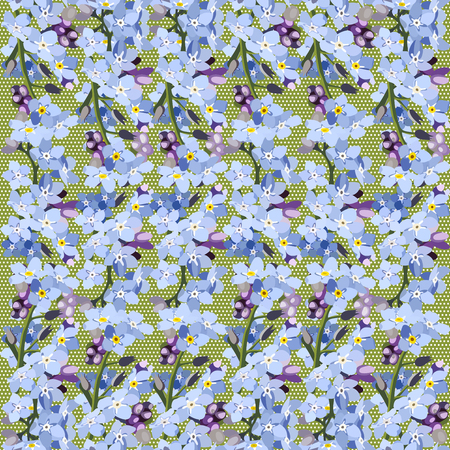 Seamless pattern colorful. Floral background. Forget me no flowers. Spring fresh abstract motifs. Vector illustration Illustration