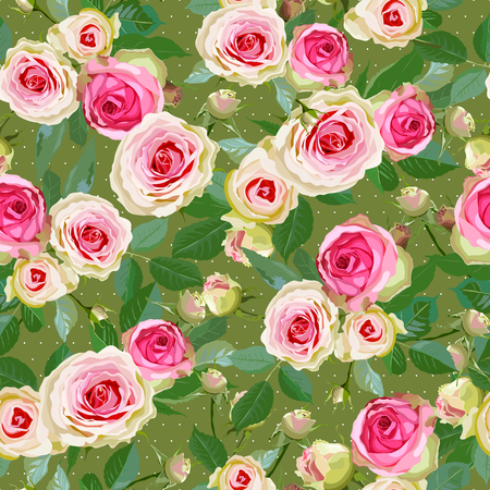Seamless with roses. Pattern with realistic flowers. Vector illustration.