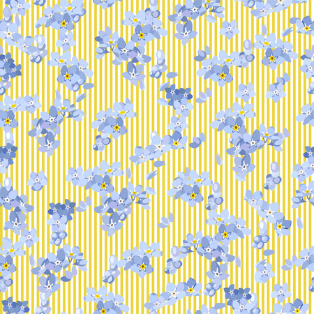Seamless pattern colorful. Floral background. Forget me no flowers. Spring fresh abstract motifs. Vector illustration Stock Vector - 124971535