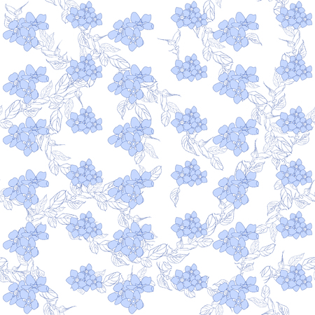 Seamless pattern in pastel colors. Floral background. Forget me no flowers. Spring fresh abstract motifs. Vector illustration