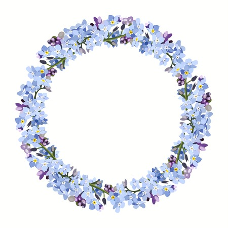 Wreath with forget me not flowers. Background for text with filigree realistic flowers.