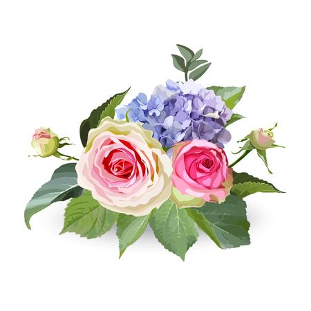 Bukiet kwiatów hortensji z różami i liśćmi. Na białym tle obiekt kwiatowy na białym tle.