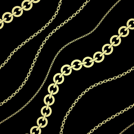 Seamless background with gold chains. Gold and black pattern. Fashion illustration. Vector