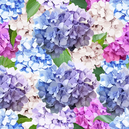 Seamless pattern with Hydrangea Flowers and leaves. Realistic style floral background. Spring fresh texture.Vector illustration. 矢量图像