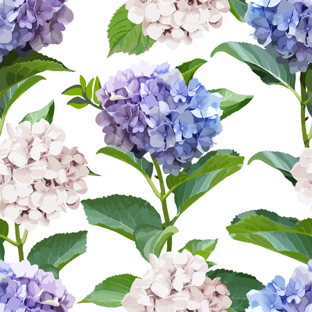 Seamless pattern with Hydrangea Flowers and leaves. Floral background.