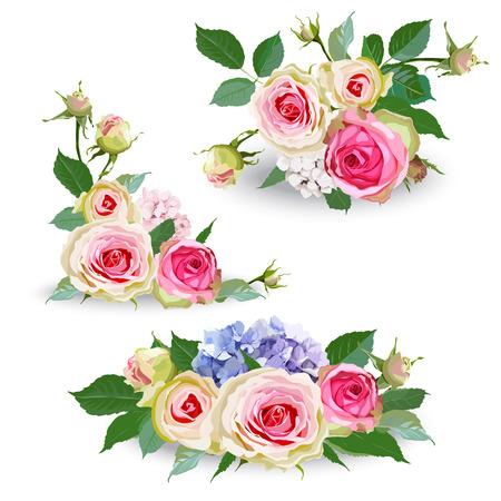 Bouquet di fiori di ortensia con rose e foglie. Oggetto floreale isolato su sfondo bianco. Illustrazione vettoriale. Elemento modificabile per il design.