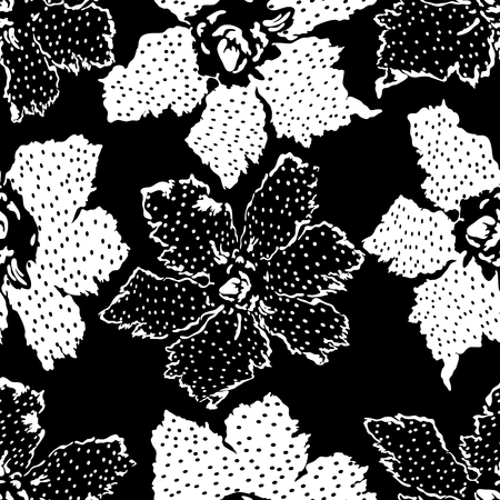 Seamless abstract floral motif. Monochrome flower patchwork background. Set of pattern with filigree ornaments. Vector illustration