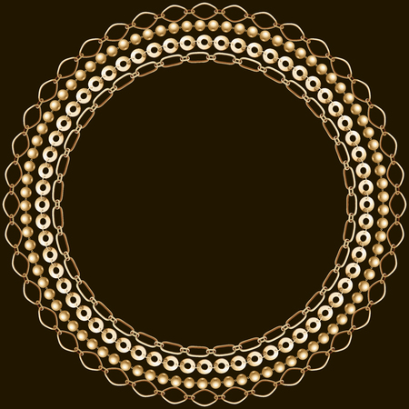 Cold and black chain background. Filigree round border. Save the date card. Monochrome pattern. Çizim