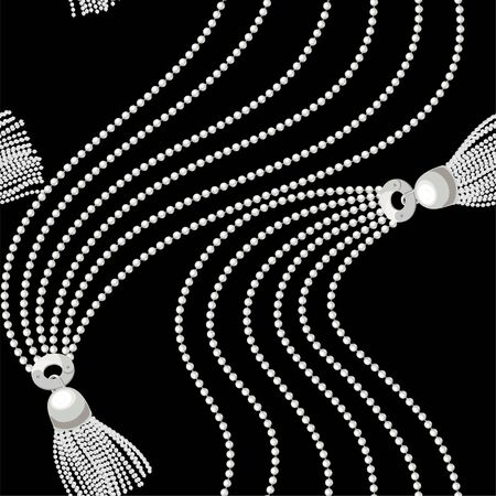 White pearls chain seamless on black background. Fashion illustration. Seamless pattern abstract design. Vector Çizim