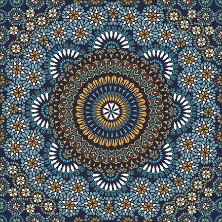 Decorative colorful seamless pattern in mosaic ethnic style. Oriental motif ornament.