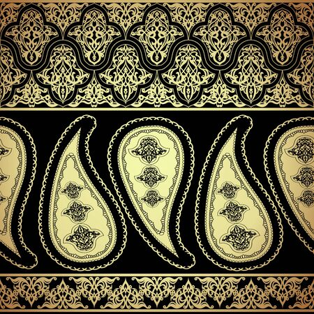 Seamless pattern with gold paisley oriental motif Çizim