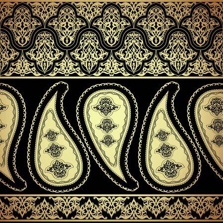 Seamless pattern with gold paisley oriental motif 일러스트