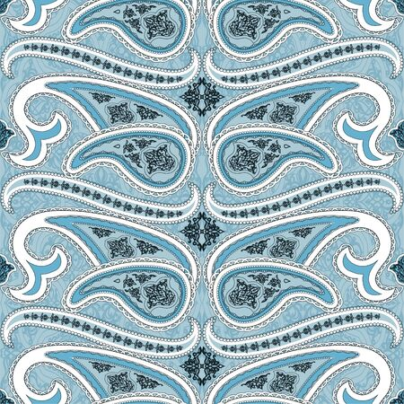 Seamless pattern with paisley. Oriental filigree motif