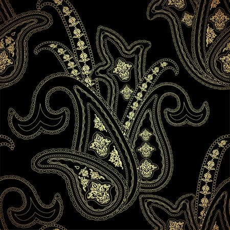 Seamless pattern with gold paisley oriental motif 向量圖像