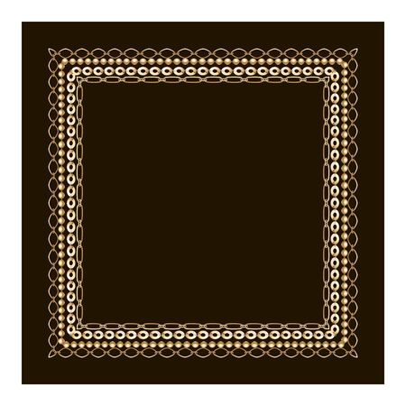 Cold and black chain background. Filigree square border. Save the date card. Monochrome pattern.