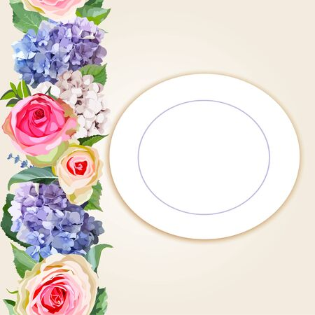 Floral greeting invitation card template design with flowers for wedding, marriage, bridal, birthday, Valentines day.