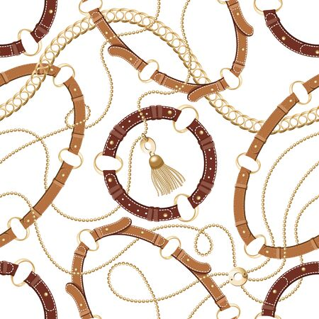 Seamless background with gold chains, anchors,rope, grid. Abstract pattern in nautical style. Marine motifs ornament. Idea for material, textile, fabric design. Black, gold texture