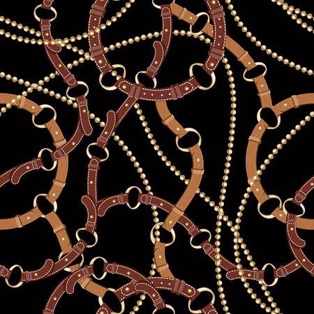 Fond transparent avec chaînes en or, ancres, corde, grille. Motif abstrait dans un style nautique. Ornement de motifs marins. Idée pour le matériel, le textile, la conception de tissu. Texture noire et dorée Vecteurs