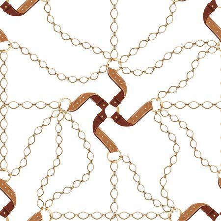 Fond transparent avec chaînes en or, ceinture, corde, grille. Motif abstrait dans un style nautique. Ornement de motifs marins. Idée pour le matériel, le textile, la conception de tissu. Texture noire et dorée