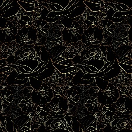 Gold flowers on black background. Elegance seamless pattern with roses. Abstract pattern with floral motifs. Idea for material, scarf, fabric, textile, wallpaper, wrapping paper. Vector illustration