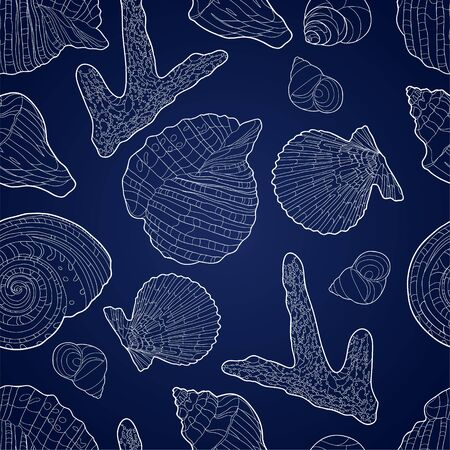 Seamless pattern with shells, coral and chains. Marine motif background. Pattern in nautical style with sea shells. Vector illustration