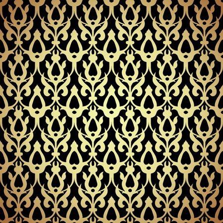 Black and gold damask luxury filigree background