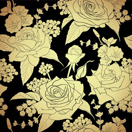 Gold flowers on black background. Elegance seamless pattern with roses. Abstract pattern with floral motifs.