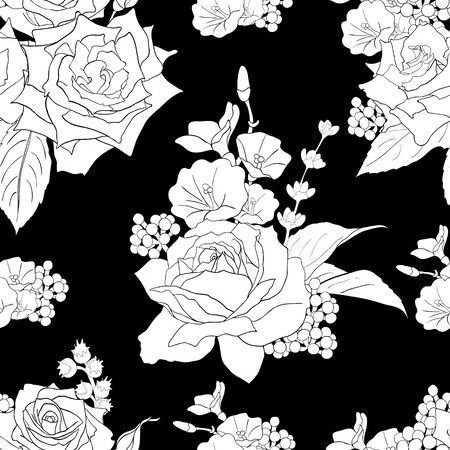 Seamless pattern with roses. White flowers, leaves on black background. Abstract monochrome pattern