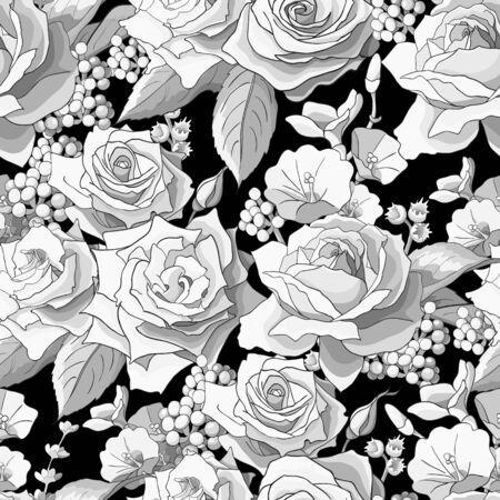 Nahtloses Muster mit Rosen. Weiße Blumen, Blätter auf schwarzem Hintergrund. Abstraktes monochromes Muster Vektorgrafik