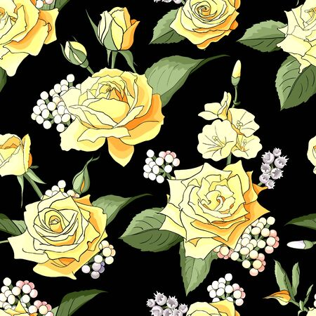 Seamless pattern with yellow roses. Flowers, leaves on white background. Abstract colorful pattern in floral style.